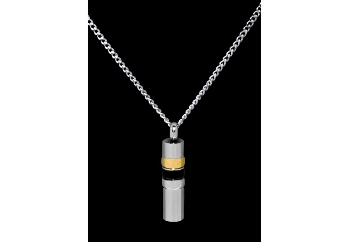 Stainless Steel Black/Gold Cylinder Cremation Pendant #36-616